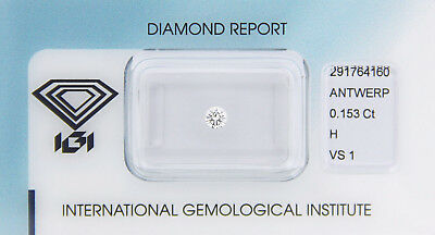 Diamant 0,153 ct H VS 1 IGI Zertifikat  - Sealed -