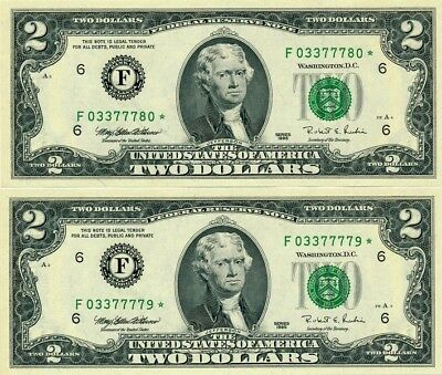 Federal Reserve Note U.S.A.  $2 1995 Star Notes  Choice Unc  2 Pcs in cont. no.