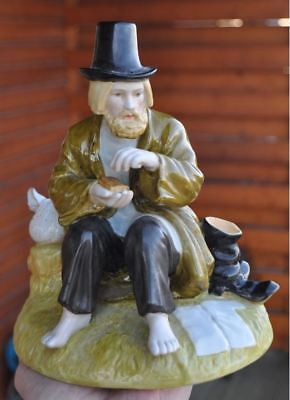 Russia Old Russian BIG Porcelain Figurine PEASANT EATING BREAD Gardner?