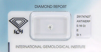 Diamant 0,16 ct E SI 1 IGI Zertifikat  - Sealed -