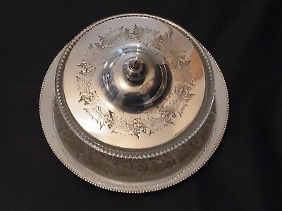 STUNNING Antique silver plated Butter Dish with glass lining Holly Engraved Dish