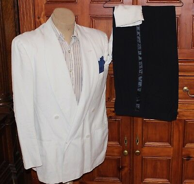 VTG 40s 50s IVORY WOOL SUM-R-NITE TUXEDO SUIT JACKET BLACK TUX STRIPED PANTS 46