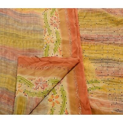 Sanskriti Vintage Saree 100% Pure Crepe Silk Hand Embroidered Fabric