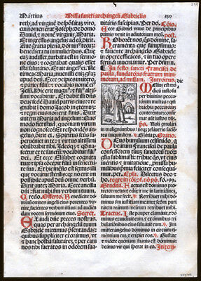 1566 Italian Roman Missal Leaf Two Large Woodcuts Feast of Archangel Gabriel