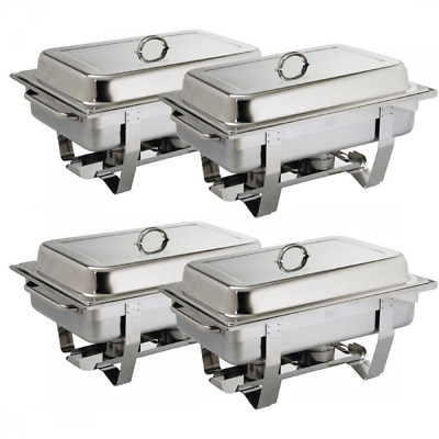 Stainless Steel Chafing Set 4 Pack Buffet Catering Dish Food Warmer 2Fuel Tray