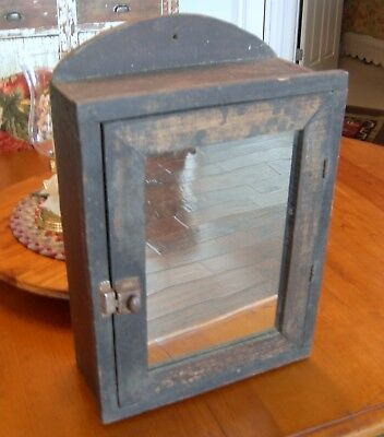 Antique Primitive Medicine Cabinet With Mirrored Door Old Grungy Patina