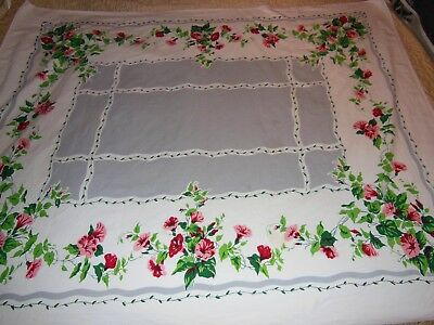 Vintage Tablecloth Morning Glory Pink Red Long Green Vines