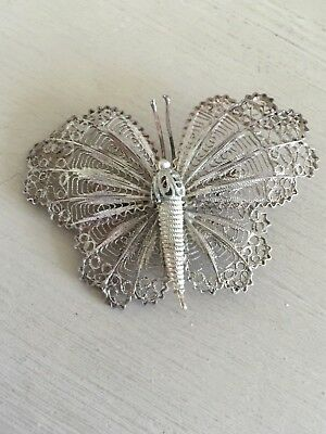 Antique Vintage Victorian Silver Tone Large Wire Work Butterfly Pin Brooch