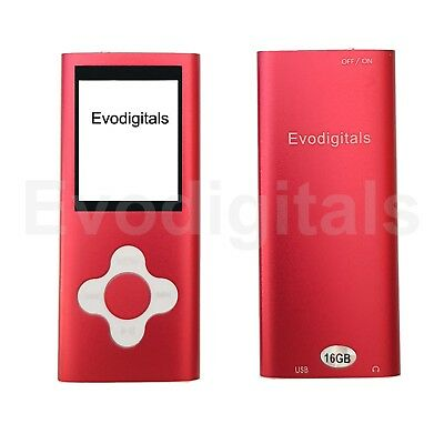 New 16Gb Red Elite Mp3 Media Mp4 Player Music Video Fm Tuner Games Voice Record+