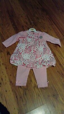 Baby girl clothes age 3-6 months Pink 3 piece dress pants & Cardigan