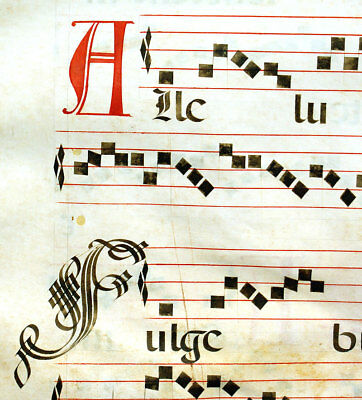LARGE MUSIC ILLUMINATED MANUSCRIPT ANTIPHONAL LEAF c1612 FEAST INITIALS ALLELUIA