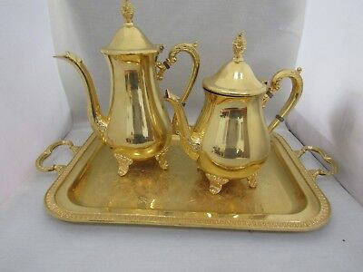 Wolff Dore Or Fin Feingold Auflage Germany Tray, Coffee & Tea Pot