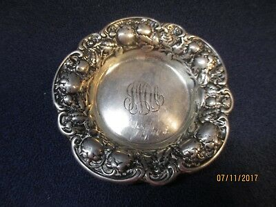 Antique Sterling Silver Repousse' Pin Tray ca 1880-1900