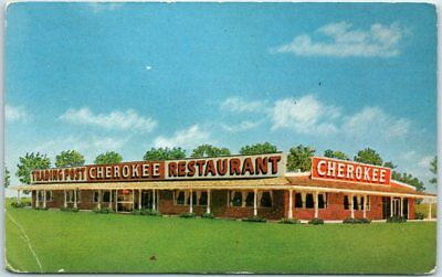 Clinton, Oklahoma ROUTE 66 Postcard CHEROKEE TRADING POST Restaurant Roadside