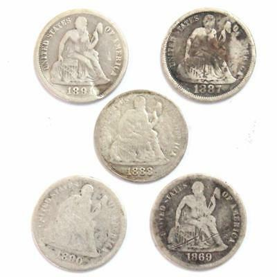 Seated Liberty Dimes (Lot Of 5 Coins)