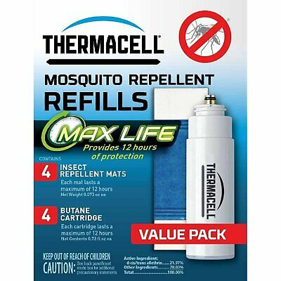 Thermacell L-4 Max Life Mosquito Repeller Refill, 12 Hour Max Life Mats, 48 Hrs!