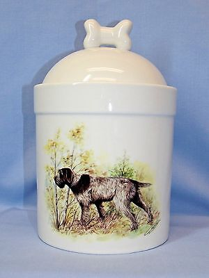 German Wirehaired Pointer Dog Porcelain Treat Jar Fired Decal on Front 8 In Tall