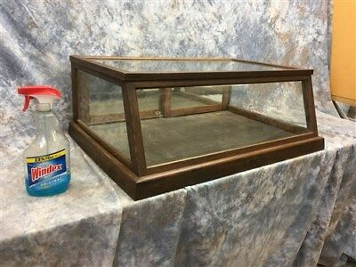 Vintage Oak Showcase Country Store Countertop Display Cabinet Mirror Doors h