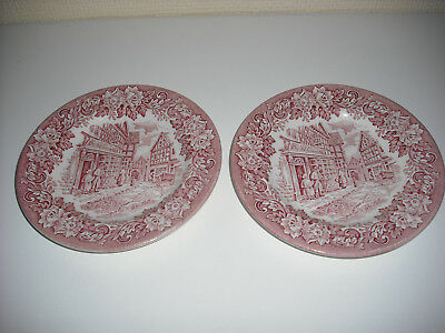 2 x MATCHING ENGLISH IRONSTONE DICKENS SERIES PLATES-PINK ENGRAVED