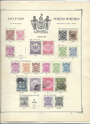 North Borneo on album page, some stamps stuck down (#0701a)