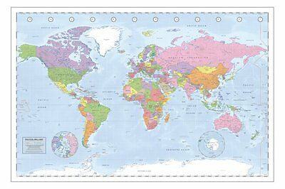 Political World Map Poster - Miller Projection