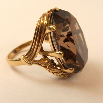 Stunning Vintage Chunky 9Ct Gold Smokey Quartz Ring Size L