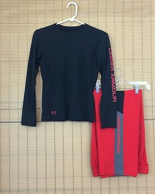 UNDER ARMOUR Lot 2 Boys Large Red Hero Warm-Up Pants & Black Fitted Touch Shirt