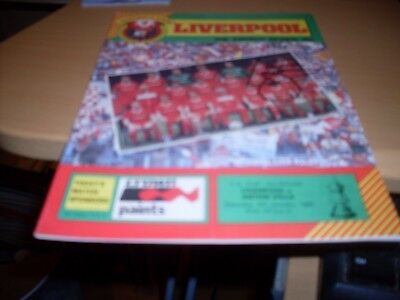 liverpool v aston villa  signed on front by liverpool mark lawrenson  1984/85