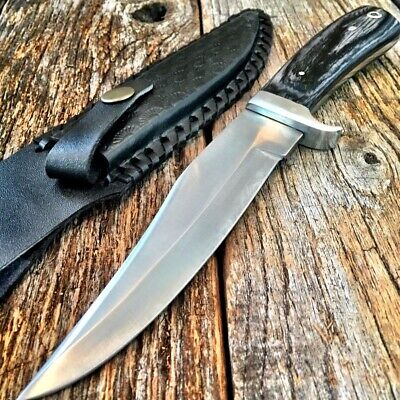 "10"" Hunting Knife Wood Handle W/ Leather Sheath Stainless Steel Tactical 203316"