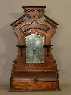 19thC Antique VICTORIAN Era SHAVING MIRROR Old ROLL TOP Candle Stand WOOD CADDY