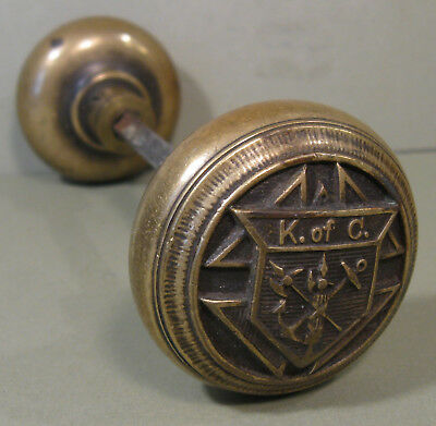 "Circa 1910 Pair Knights of Columbus Brass Doorknobs,  ""K. of C."" with Emblem"