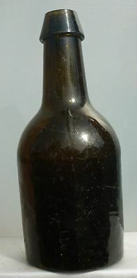 SQUAT BLACK GLASS ALE BOTTLE-Wedge Top-Three Piece Mold-Sticky Pontil-1840s