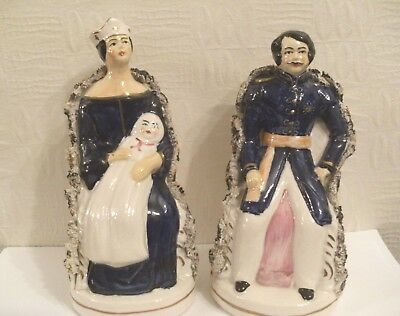 A Pair of Staffordshire Flatbacks Depicting Albert and Victoria