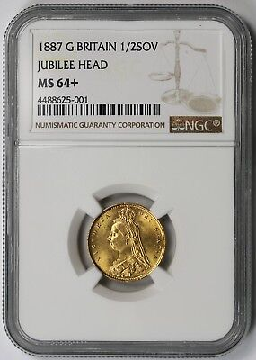 1887 Great Britain Jubilee Head Gold Half 1/2 Sovereign 1/2SOV MS 64+ Plus NGC