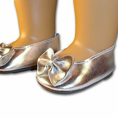 """Silver Shoes with Cute Bow Ballet Flats made for 18"""" American Girl Doll Clothes"""