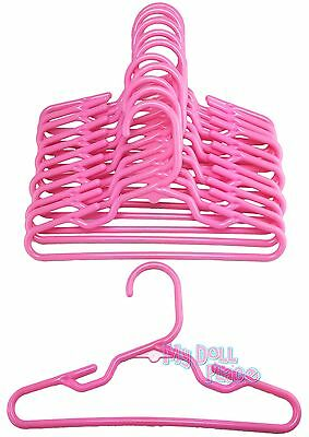 """12 Pink Hangers Plastic One Dozen fit 18"""" American Girl Doll Clothes Hangers Dog"""