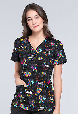 Love You To Pieces Cherokee Scrubs Genuine Mock Wrap Top CK614 LVPC