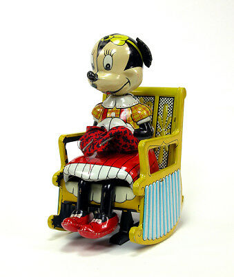 Vintage LineMar Walt Disney Knitting Minnie Mouse Wind-Up Tin Lithograph Toy