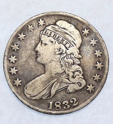 BARGAIN 1832 Capped Bust/Lettered Edge Half $ VERY FINE Silver 50c
