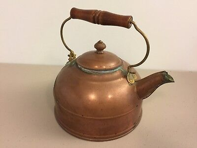 Antique Vintage Copper Tea Kettle With Lid & Wood Handle