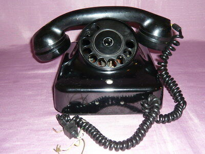 Altes Bakelit Gabel Telephone Post Telefon W 48 schwarz mit Glanz Top Zustand