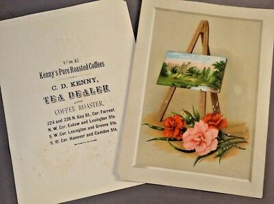 C.D. KENNY TEA DEALER & COFFEE ROASTER lot of 2 large Trade Cards BALTIMORE, MD