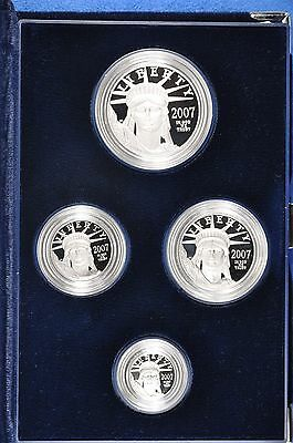 2007 W 4 Coin Proof Set of Platinum American Eagles in original Mint box + COA