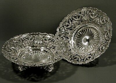 "Whiting Sterling Silver Compotes  (2)    "" 1911 ""        FRUIT FLORAL & GARLAND"