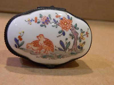 Limbach Oval Trinket Box White Hand Painted Flower Design w/ Grouse 1800's