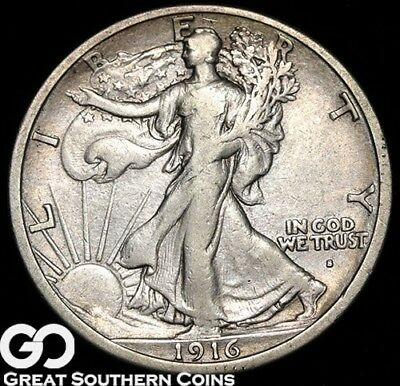 1916-S Walking Liberty Half Dollar, Key Date First Year Issue ** Free Shipping!