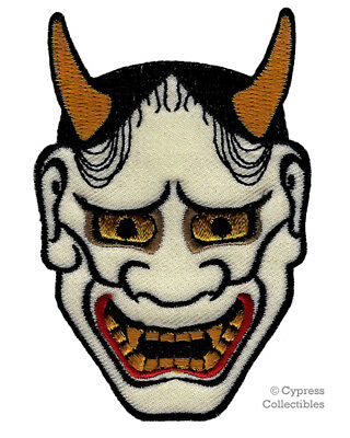 HANNYA MASK IRON-ON PATCH embroidered IREZUMI TATTOO DESIGN EVIL DEMON ONI NOH