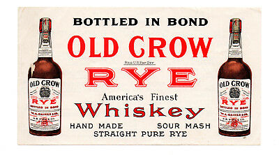 1900s W. A. GAINES & CO, FRANKFORT, KY OLD CROW WHISKEY TWO-SIDED COLOR BLOTTER
