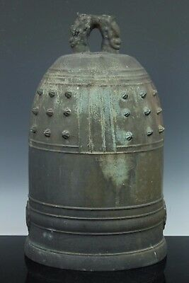 JAPANESE ANTIQUE HEAVY BRONZE TEMPLE BUDDHA HANGING BELL GONG HANSHO 14kg NOV138