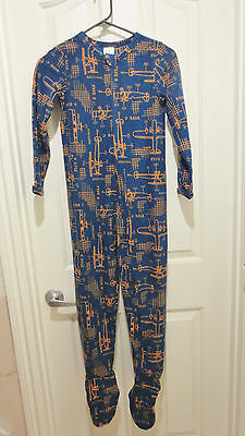 Lands End Boys Full Zip One Piece Fleece Footed Sleeper Pajamas Planes NEW 8
